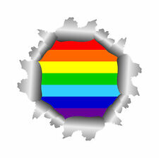 Autoaufkleber Fahne Regenbogen Rainbow hinter Einschussloch Sticker Aufkleber