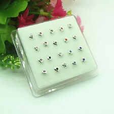 20PCS Solid Sterling silve Mixed Heart star Straight Bar Rod Nose Stud Wholesale