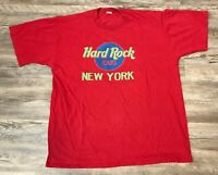 Vintage Men's Hard Rock Cafe New York Red T Shirt Size L/XL
