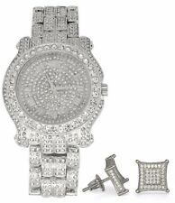 Mens Iced Out Techno Pave Watch Earring Combo Set Silver Tone Rapper Hip Hop