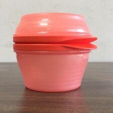 New-Tupperware Duo Bowls- Locking Lunch Set In Sheer Orange 1 & 2 Cup capacity