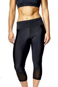 Womens Black Cropped Mesh Leggings Fitness Running Gym Exercise Yoga Sport