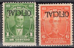 ECUADOR 1920 OFFICIAL STAMP Sc. # O 136a MNG AND O 141 MH INVERTED OVPD