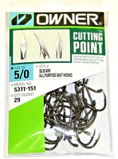 OWNER HOOKS SSW ALL PURPOSE BAIT 5311-151 SZ 5/0 QTY 29 CUTTING POINT