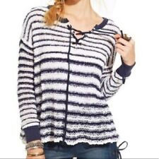 FREE PEOPLE JUDY PUNK SWEATER LACE UP STRIPED WHITE NAVY BLUE SIZE M MEDIUM **FF