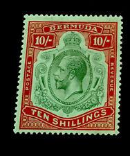Bermuda SG54 10/- George V 1918 m/mint CV £180