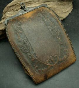 Antique Steampunk Vtg Art Deco Nouveau Stamped Leather Turnloc Purse Bag (D31)