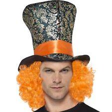 Adulto Unisex Top Hat Con Capelli Topper Cappello Cappellaio Matto Alto & Capelli Nuovi Da Smiffys