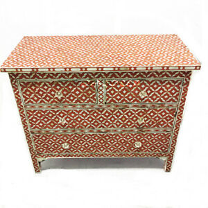 Handmade Mother of Pearl Inlay Red Leaf Design Sideboard Buffets
