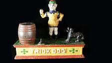 Vintage Trick Dog Cast Iron Mechanical Coin Piggy Bank
