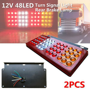2pc 12V Car Truck 48LED Rear Brake Lamp Stud Mount Stop Turn Signal Light Marker