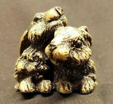 "Realistic Two Brown Rabbits Cuddling - vintage Taiwan bunny figurine 2.5"""