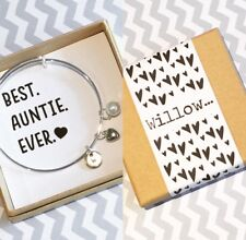 Auntie Charm Bangle With 3 Charms, Gift Box & Personalised Sleeve! Auntie Gift!