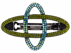 Luxury Oval Ellipse Hair Metal Barrette Clasp Clip Fully Austrian Crystal Green