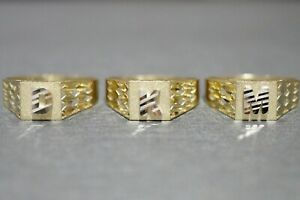 10K Solid Yellow Gold Diamond Cut Square Initial Letter Ring. Size 6