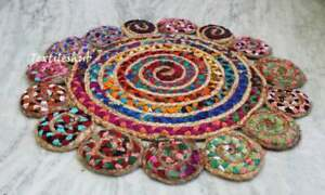 Indian Handmade Round Rug Area Beautiful Color Home Decorative 24x24 Jute Rug US