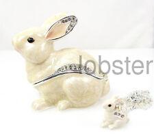 WHITE SNOW BUNNY RABBIT ENAMEL FINE TRINKET BOX includes pendant necklace