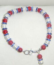 "#7913 Red & White ""Healing Magnetic Hematite"" & Blue Crystal Rondelle Bracelet"