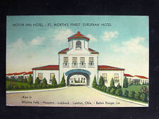 1941 Motor Inn Hotel Fort Worth TX post card