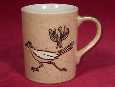 Otagiri Road Runner Bird Coffee Mug Cup Embossed Design Brown Cactus Plants