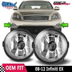 For Infinti EX35 08-12 Bumper Driving Fog lights Lamps Replacement Pair Clear