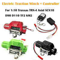 RC 1:10 Electric Traction Winch+Controller For Traxxas TRX4 Axial SCX10 D90 D110