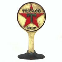 Texaco Doorstop, Cast Iron Paperweight Decor Collectible, Antique Vintage Finish