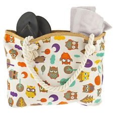 Print Neutral Rope Strap Tote Bag Lux Accessories Colorful Owl Leaf