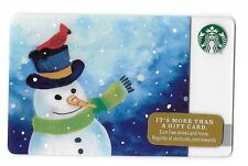 2016 Starbucks Card ~ Christmas, Winter, Snowman, Red Cardinal on Top Hat