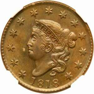 1818 N-6 NGC MS 64 BN Matron or Coronet Head Large Cent Coin 1c