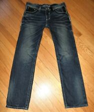 Men's AFFLICTION ACE Slim Straight Leg Jeans American Eagle Patches 32 x 33