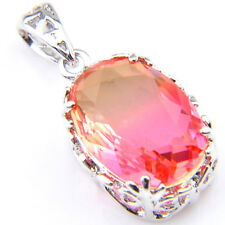 925 Sterling Silver Plated Bi Colored Tourmaline Gems Necklace Pendant + Chain