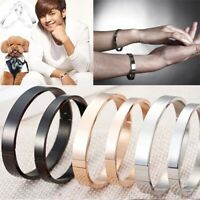 Titanium Steel Wristband Women Men Bracelet Jewelry Charm Cuff Bangle Gift ST