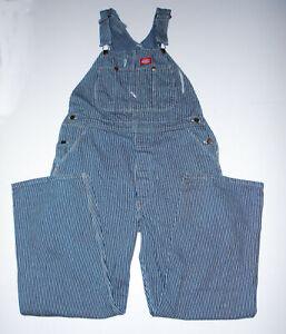 Vtg 80s DICKIES Work Overalls PINSTRIPE BLUE Farmer Denim USA Coveralls sz 36x30
