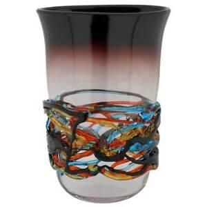 GlassOfVenice Murano Glass Vesuvio Oval Vase - Purple
