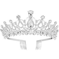 Bridal Princess Tiara Crystal Rhinestones Tiara Crown with Comb Wedding Headband