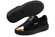 New Puma Black Suede Platform Gold Toe Sneakers Shoes 9.5 Rihanna Creepers