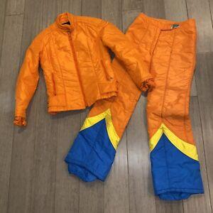 Vtg 60s 70s HEAD Apres Ski Suit Coat Snow Pants TWO PIECE Snowsuit bib Womens 10