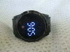 Digital Watch Black Blue LED Numbers Touch Screen Modern Futuristic WORKING!