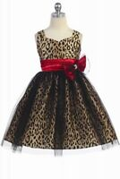 Leopard Print Floral Girl Kids Party Dress Champagne 4, 6, 8, 10 Size