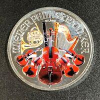 2014 AUSTRIAN PHILHARMONIC COLORIZED BU 1 OZ .999 FINE SILVER UNC SELECT (MR)