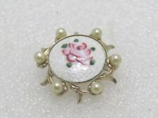 Vintage Guilloche Rose Brooch with Faux Pearls, 1960's, 1""