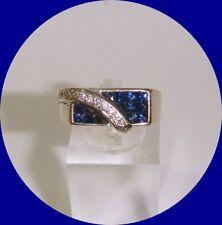 Sharp Vintage Men's 18k White Gold Sapphire & Diamond Ring-- Size 8