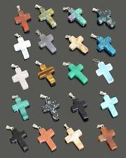 Kreuz Anhänger Cross Natursteine Edelstein 34 mm X 20 mm Heilstein + 32 Modelle