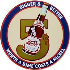 "Pepsi-Cola 5 Cents Bigger Better 12"" Round Tin Metal Sign Nostalgic Retro Decor"