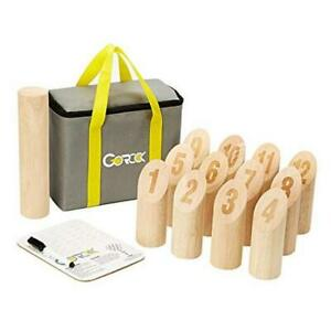 Numbered Block Toss Game, Wooden Bowling Throwing Game Set with Scoreboard &