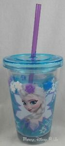 NEW Disney Store Frozen Elsa Cold Cup Tumbler Sippy Milk Plastic Water Straw Cup