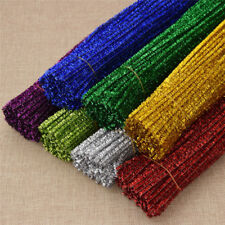 100pcs Sequin Chenille Stems Pipe Cleaners for Handmade Colorful DIY Supplies