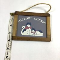 Welcome Friends Vintage Cat  Mini Wood Plaque Stencil Style Art Print Small