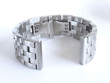 24mm Lexury Butterfly Brushed Solid Link 316L Stainless Steel Watch Bracelet Men